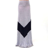 Chevron Striped Grey High Waist Maxi Skirt