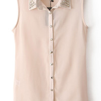 Apricot Metal Embellished Lapel Sleeveless Blouse