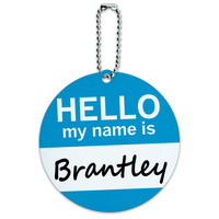 Brantley Hello My Name Is Round ID Card Luggage Tag