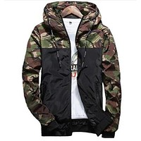 Mens Casual Camouflage Hoodie Jacket Men Waterproof Clothes Men's Windbreaker Coat Male Outwear