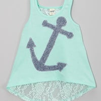 Teal Anchor Hi-Low Lace Tank - Toddler & Girls | zulily