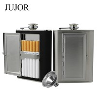 Leather and Stainless Steel Flask with Funnel and Case (Black/Silver, 5oz/6oz)