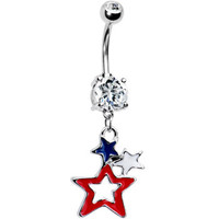 Patriotic Stars Dual Gem American Belly Ring   Body Candy Body Jewelry