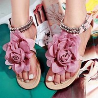 Flower Flat Sandals  from sniksa