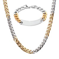 BodyJ4You Fashion Jewelry Set Men's Stainless Steel/Goldtone Box Chain Link Necklace & Bracelet w/Name Plate