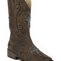 Roper Bling Crystal Cross Faux Leather Cowgirl Boots - Square Toe - Sheplers