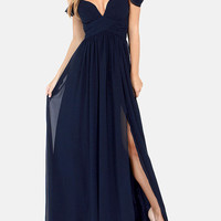 Navy Off-Shoulder V-neck Sheath A-Line Pleated Slit Maxi Dress