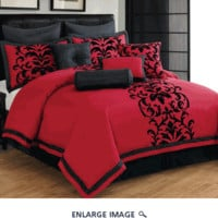 14 Piece King Dawson Black and Red Bed in a Bag Set