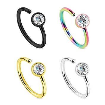 Nose Ring Hoop 20G CZ Set Stainless Steel 4 Pieces Body Jewelry Piercing
