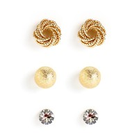 Sale-gold Circles Of Style Stud Earring Set