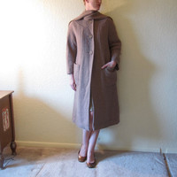 MOD Coat with Attached Fringe Scarf.  Tan Basket Weave. Size S to M.