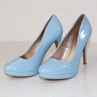 Walk This Way Ice Blue Patent Heels