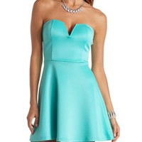 Plunging Sweetheart Skater Dress by Charlotte Russe - Blue Tint