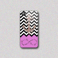 Chevron Pattern Light Purple Anchor - Print on Hard Cover for iPhone 4/4s, iPhone 5/5s, iPhone 5c - Choose the option in right side