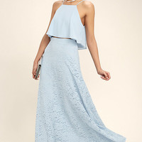 Love at First Sight Light Blue Lace Two-Piece Maxi Dress