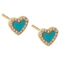 Diamond Turquoise Heart Stud Earring 14K