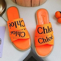 Chloe Summer Hot Sale Women Casual Print Slipper Sandals Shoes Orange