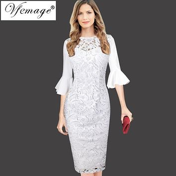 Vfemage Womens Elegant 3/4 Bell Sleeves Sexy Crochet Lace Hollow Out Party Cocktail Special Occasion Vestidos Sheath Dress 8276
