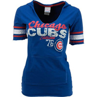 Chicago Cubs MLB Womens Baby Jersey Slit Neck Hooded T-Shirt