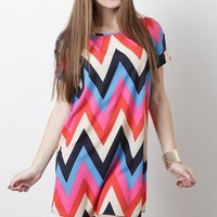 Chevron Charm Dress (available in Green Multi.)