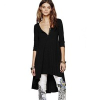 Tops and Tees T-Shirt HALIFE Punk Rock Long Tunic  For Women T-shirt 3/4 Sleeve High Low Asymmetrical Plus Size Tee Shirt Femme Poleras Mujer S10 AT_60_4 AT_60_4