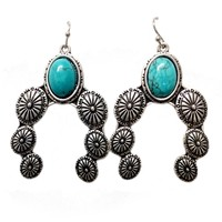 Natural Turquoise Concho Post Earrings