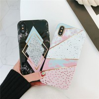Candy Color Geometry Splice Marble Phone Case