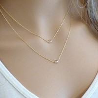 Women's Ladies Fashion Crystal Beads Double Chains Clavicle Necklace