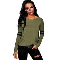 Womens Fashion T Shirts Army Green Loose Casual  Long Sleeve O Neck Stitching Tops T-Shirt Women Clothes GS