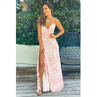White and Coral Printed Maxi Dress