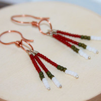 Tassel Dangle Earrings, Red Earrings, Copper  or Brass Dangle Earrings,  Tribal Earrings, Gifts for Her