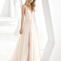 Rosa Clará Donata Front Slit Lace & Tulle Wedding Gown   Nordstrom