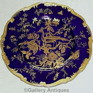 Vintage Coalport Cairo Pattern Cobalt Blue and Gold exotic birds 27cm large Porcelain Cabinet / Dinner scalloped Plate c.1920's (ref: 3204)