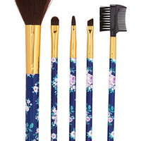 FOREVER 21 Rose Cosmetic Brush Set Navy/Turquoise One