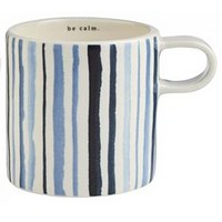 Rae Dunn Indigo Mug - Blue Watercolor Stripe - Set of 4 (Save $17!)