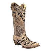 Corral Brown & Black Stingray Inlay Snip Toe Boots