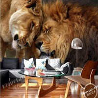 Custom wallpaper HD 3D domineering lion animal photography TV backdrop wall large mural living room backdrop Animal wall paper