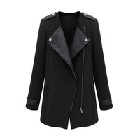 Black Faux Leather Patchwork Zipper Front Long Sleeve Trench Coat