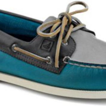 Sperry Top-Sider Authentic Original Burnished Leather 2-Eye Boat Shoe Teal/GrayBlueLeather, Size 12M  Men's Shoes