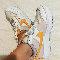 NIKE Air Force 1 Shadow Fashionable Women Casual Sport Running Shoes Sneakers White&Yellow&Pink