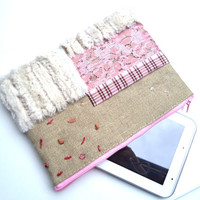 Pink aplique clutch ipad cover  natural linen white faux fur embroidered pink sequins outter pocket in pink and brown checks.OOAK.