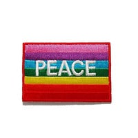 PEACH Colorful Rainbow Color Text Banner New Iron On Patch Embroidered Applique Size 7.2cm.x4.8cm.