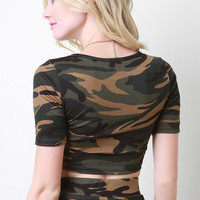 Camouflage Print Crop Top Color: Camouflage, Size: S