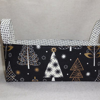 Elegant Black, White And Gold Christmas Tree Fabric Basket With Handles