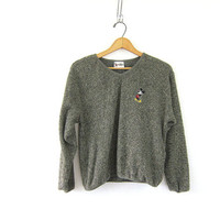 Vintage green Mickey Mouse Sweatshirt / cropped cozy sweater Disney top size S M L