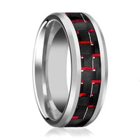 WHISPER Men's Silver Tungsten Wedding Band with Red Carbon Fiber Inlay & Beveled Edges - 8MM