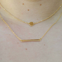 Layering Necklace Set - Delicate Gold Layer Necklaces - Layer Necklace - Rectangle Necklace - Circle Disc Necklace - Initial Necklace