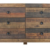 Vintage 6 Drawer Dresser Bright Recycled Wood