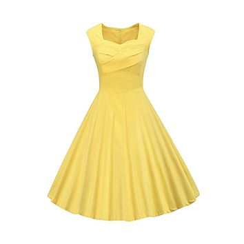 Classy Audrey Hepburn Style 1950s Vintage Rockabilly Swing Dress, Sizes Small - 2XLarge (Yellow)