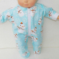 """BITTY BABY PAJAMAS, 15 inch Bitty Baby Clothes, Adorable """"Blue Sowmen and Snowflake"""" Pajamas! 15 inch Ag Dolls Bitty Baby, Christmas Winter"""